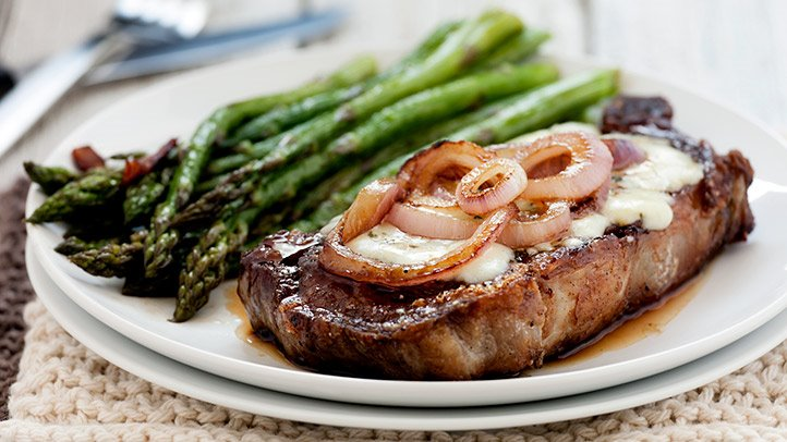 On the Atkins Diet, you'll need to cut your carb intake and fuel up with nonstarchy veggies, like asparagus, and higher-fat foods, such as meat.